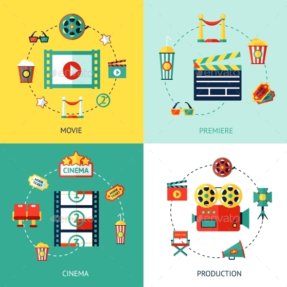 Cinema Flat Set - Miscellaneous Vectors
