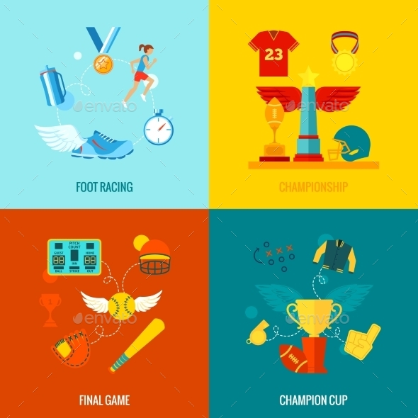 Championship Icons Flat - Sports/Activity Conceptual