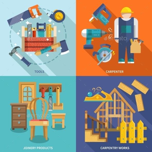 Carpentry Flat Set - Objects Vectors