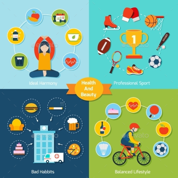 Health And Beauty Set - Sports/Activity Conceptual