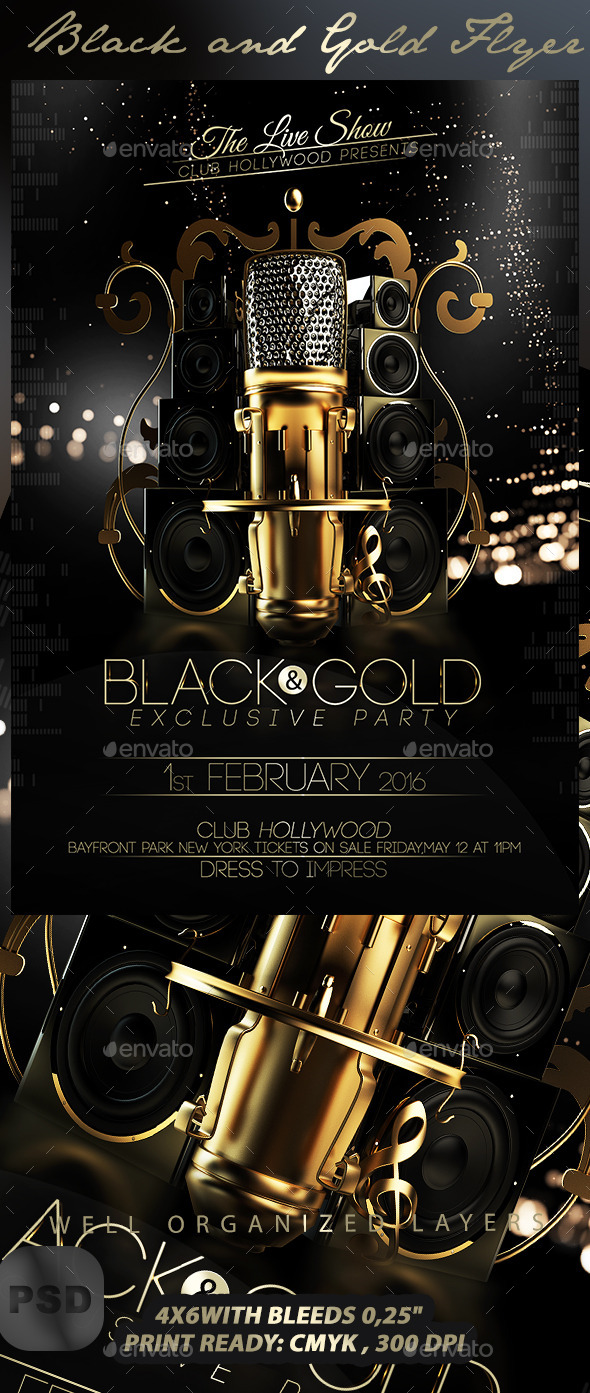 Black and Gold Flyer Template by Stormclub GraphicRiver
