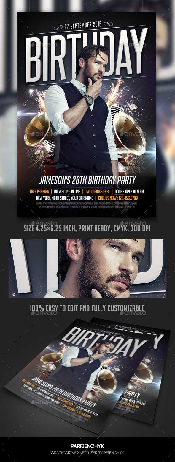 Birthday Party Flyer Template - Events Flyers