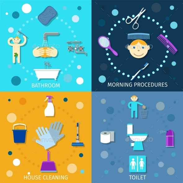 Hygiene Icons Flat - Health/Medicine Conceptual