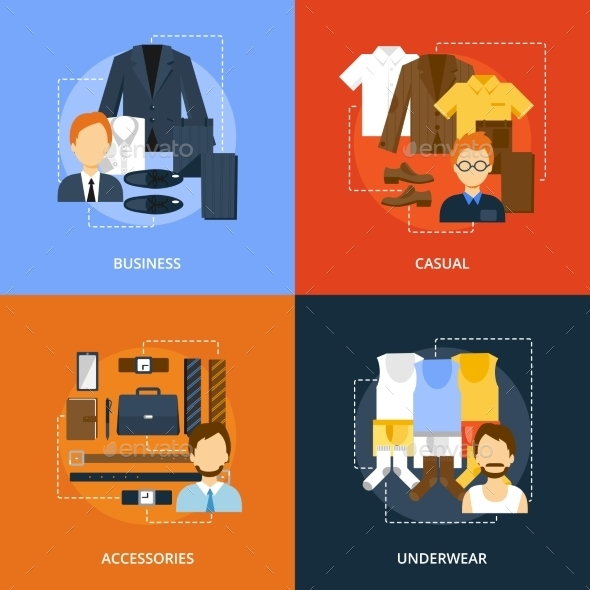 Clothes Icons Flat - People Characters