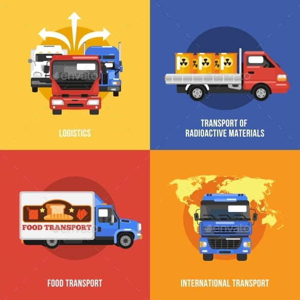Truck Icons Flat - Miscellaneous Vectors