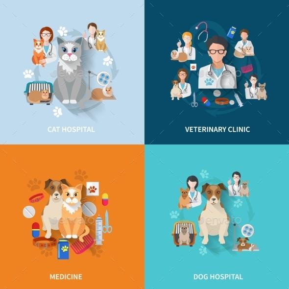 Veterinary Flat Set - Health/Medicine Conceptual