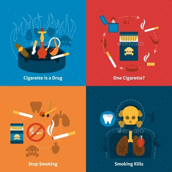 Smoking Flat Set - Miscellaneous Vectors