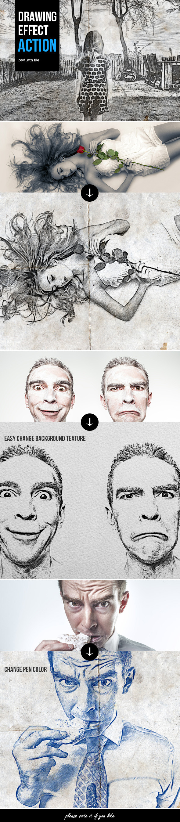 Drawing Action - Photo Effects Actions
