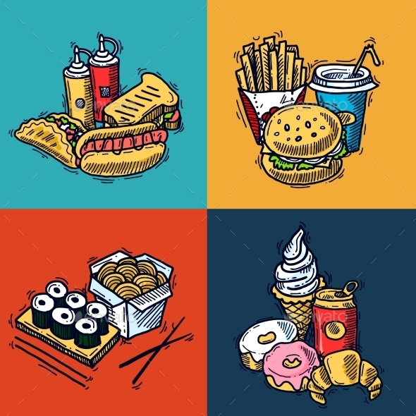 Fast Food Design Concept - Food Objects