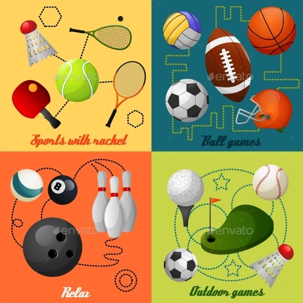 Sports 4 Flat Icons Composition - Sports/Activity Conceptual