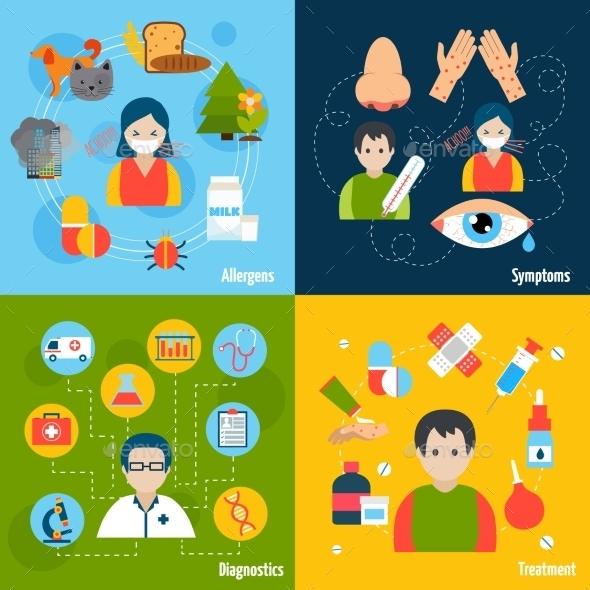 Allergies Icons Set - Health/Medicine Conceptual