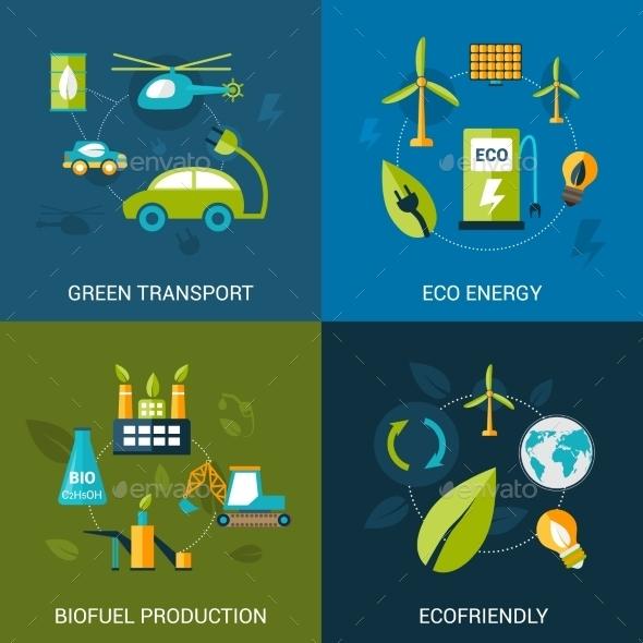 Bio Fuel Set - Web Elements Vectors