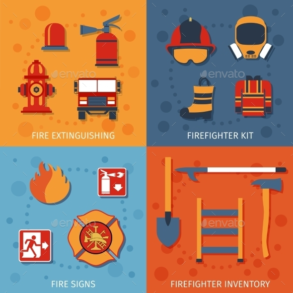 Firefighter Flat Set - Web Elements Vectors