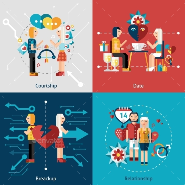 Dating Icon Set - People Characters