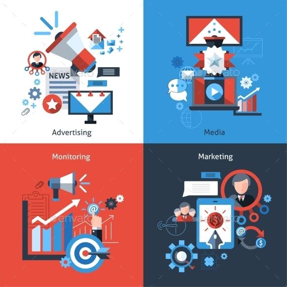 Advertising Marketing Set - Business Conceptual