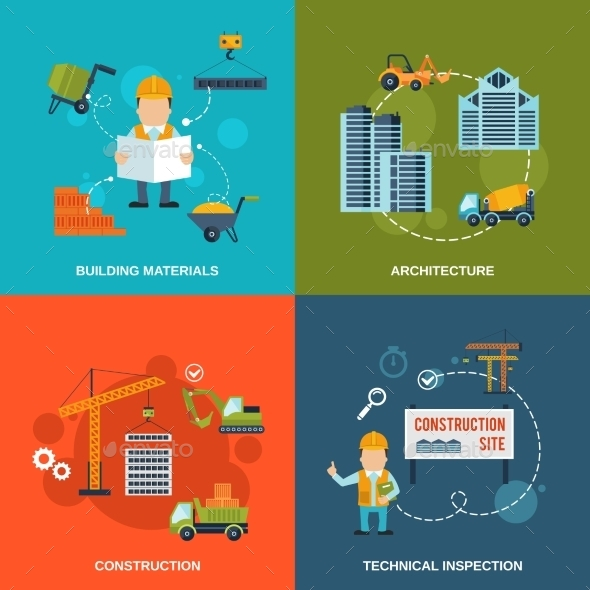 Construction Flat Icons - Industries Business