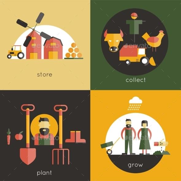 Farm Flat Set - Food Objects