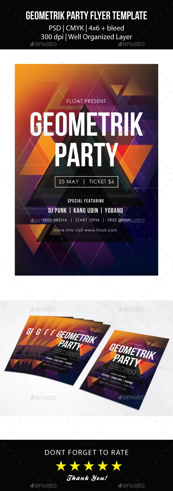 Geometrik Party Flyer Template - Events Flyers