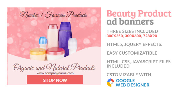 Beauty Cosmetic Product GWD HTML5 Ad Banner - CodeCanyon Item for Sale