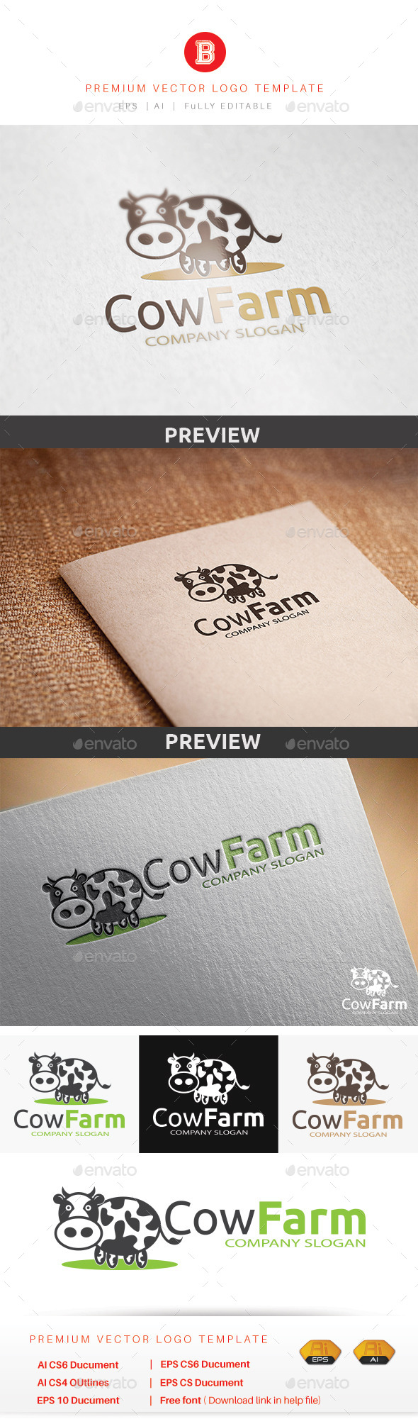 Cow Farm - Animals Logo Templates