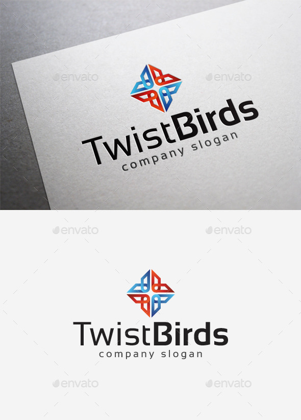 Twist Birds Logo - Abstract Logo Templates