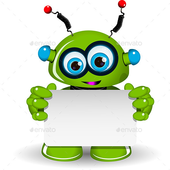 Green Robot and White Background - Miscellaneous Characters