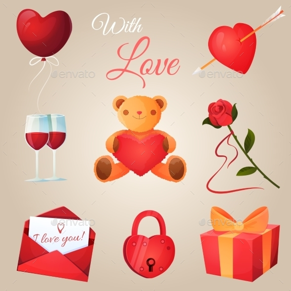 Valentine's Day Icons Set - Valentines Seasons/Holidays