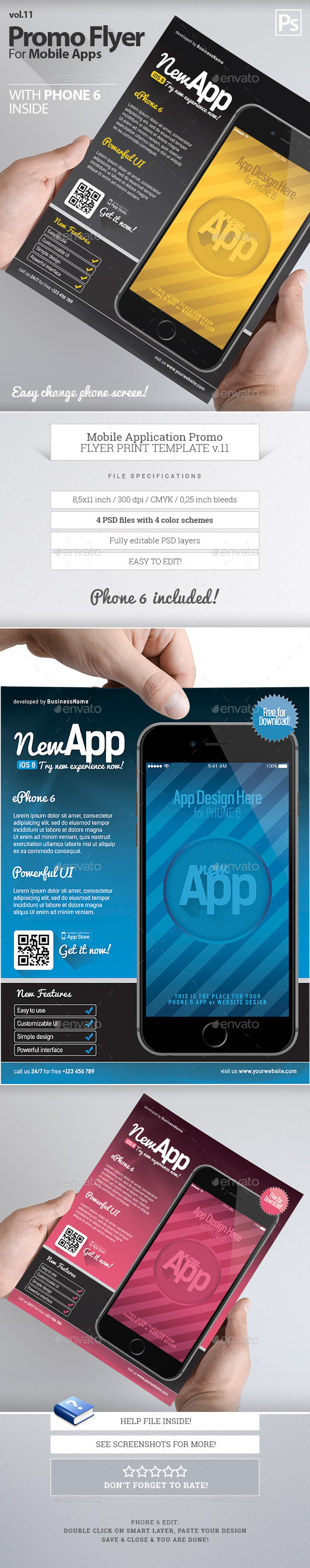 Mobile App Flyers Template 11 - Flyers Print Templates