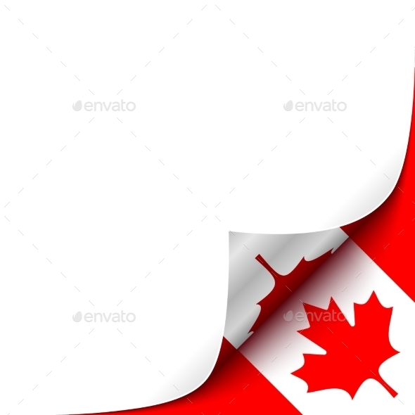 Curled Up Paper Corner on Canadian Flag - Backgrounds Decorative
