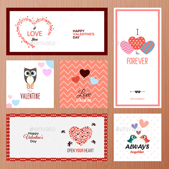 Set of Valentines Day Greeting Card Templates - Valentines Seasons/Holidays
