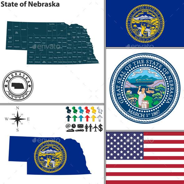 Map of State Nebraska, USA - Travel Conceptual