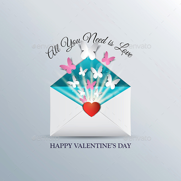 Butterfly Taking Off From Inside an Open Envelope - Valentines Seasons/Holidays