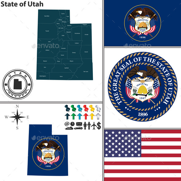 Map of State Utah, USA - Travel Conceptual