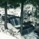 Waterfall in Snowing Winter Forest - VideoHive Item for Sale