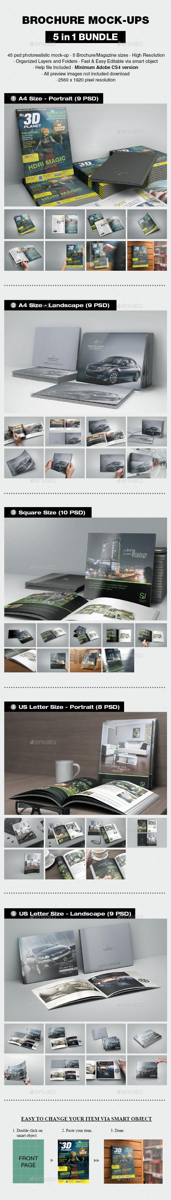 Brochure Mock-up Bundle - Print Product Mock-Ups