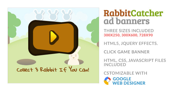Catch The Rabbit Click Game GWD HTML5 Ad Banner - CodeCanyon Item for Sale