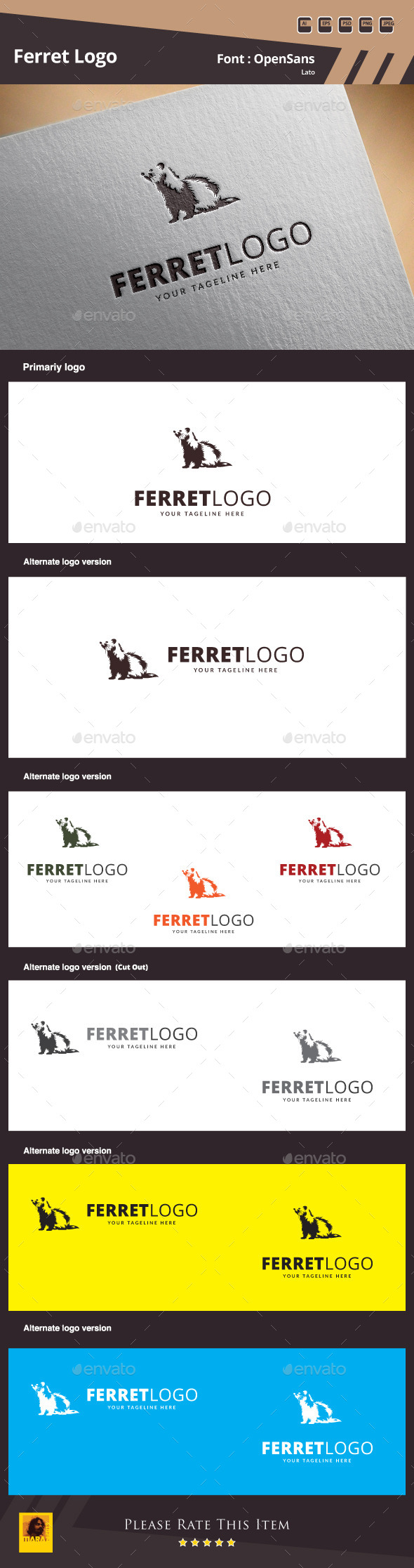 Ferret Logo Template - Animals Logo Templates