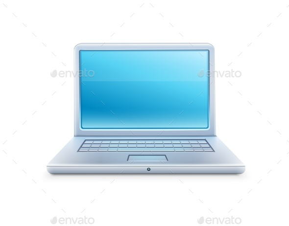 Laptop Icon with Blue Empty Screen - Computers Technology