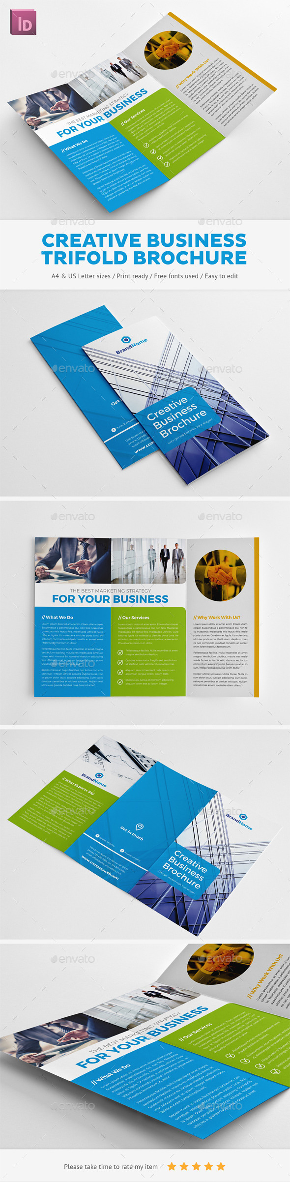 Creative Business Trifold Brochure - Corporate Brochures