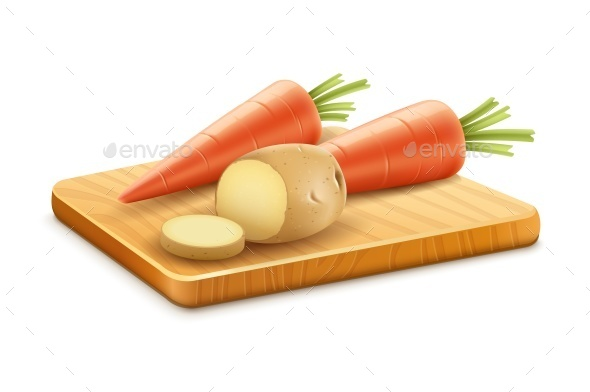 Organic Vegetables with Carrots and Potatoes - Food Objects