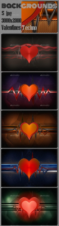 Valentine Techno Backgrounds - 3D Backgrounds