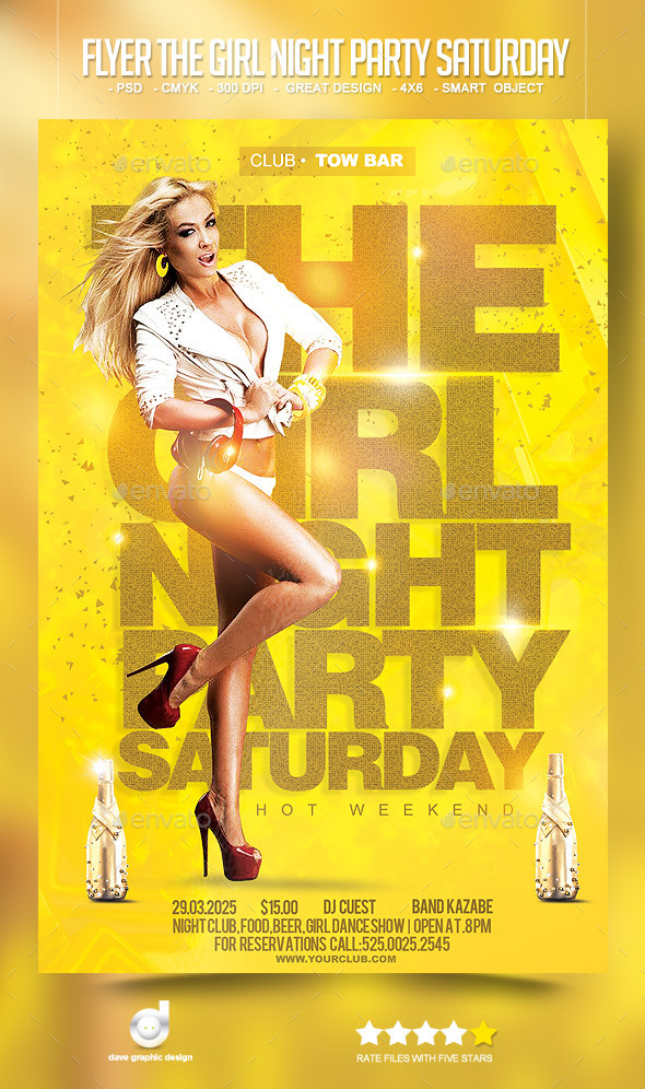 Flyer The Girl Night Party Saturday - Clubs & Parties Events
