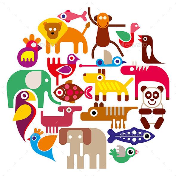 Zoo Animals Round Illustration - Animals Characters