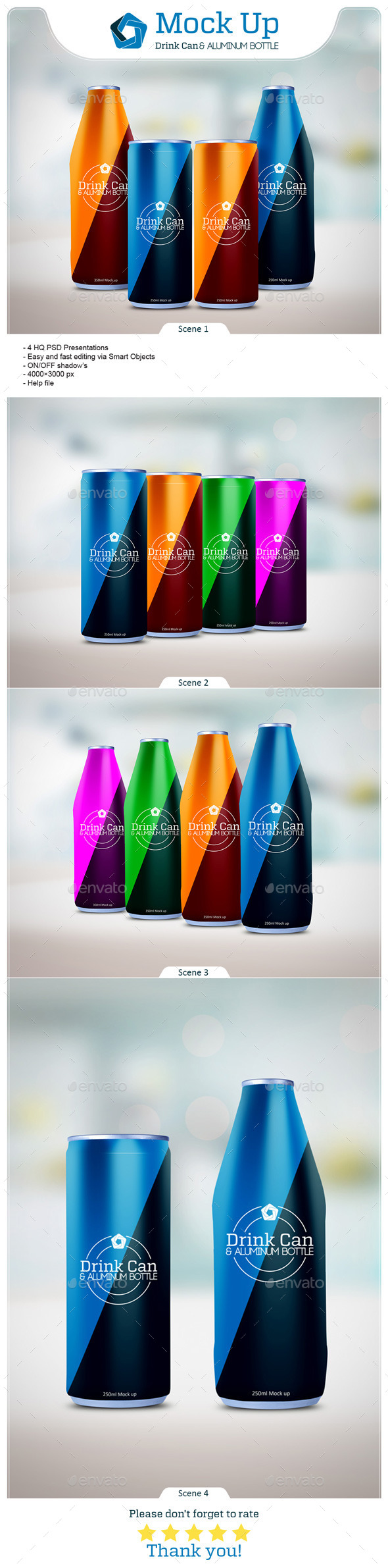 Drink Can & Aluminum Bottle Mockup - Food and Drink Packaging