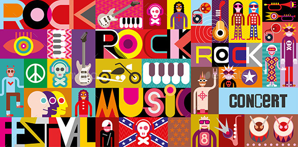 Rock Concert Poster - People Characters