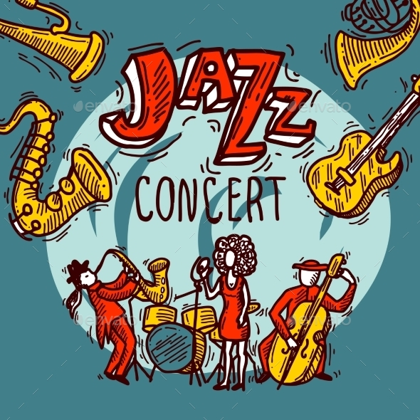 Jazz Sketch Poster - Backgrounds Decorative
