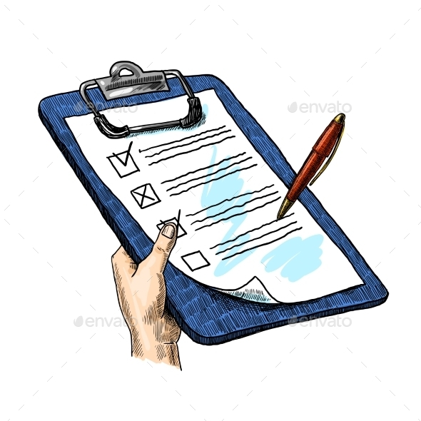 Hand With Clipboard - Miscellaneous Vectors