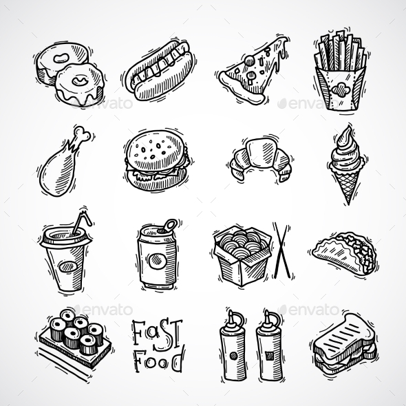 Fast Food Icons Set - Food Objects
