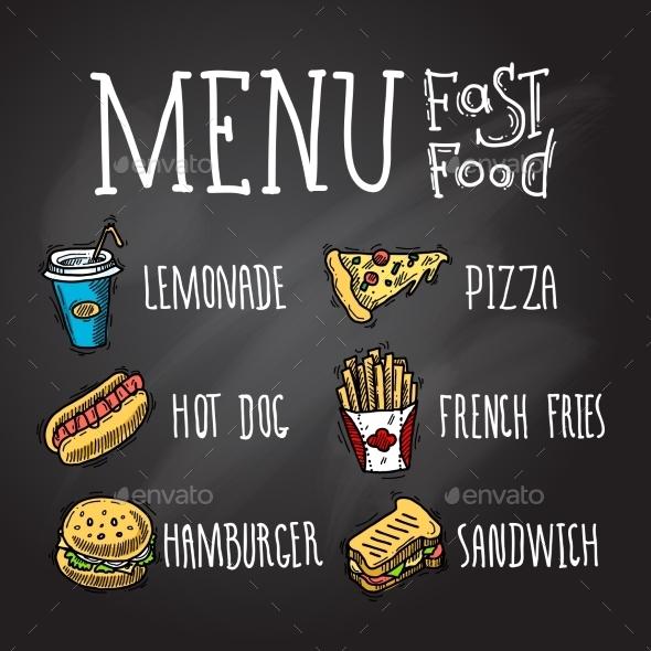 Fast Food Chalkboard - Food Objects