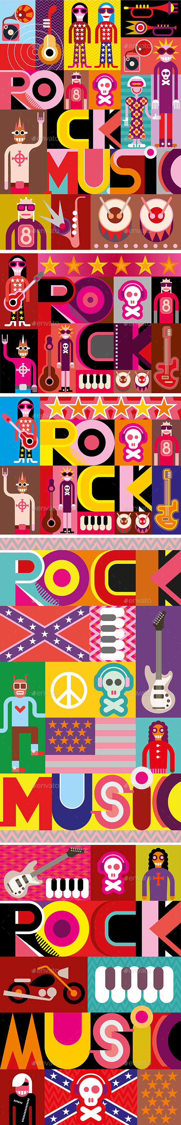 Five Rock Music Posters - People Characters